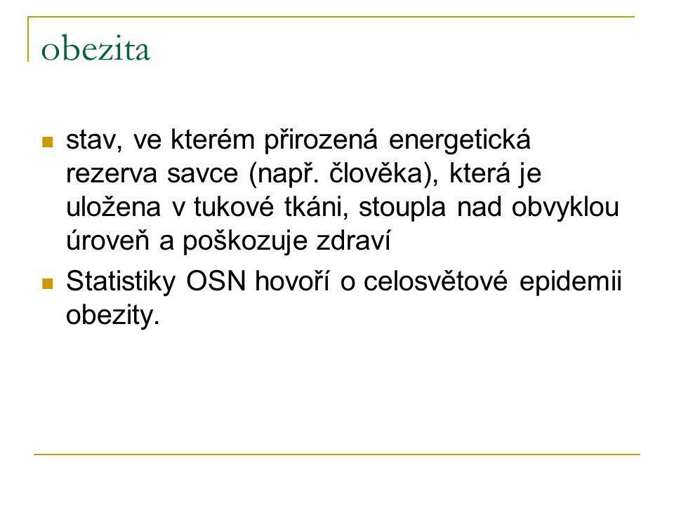 obezita stav, ve kterém přirozená energetická rezerva savce (např.