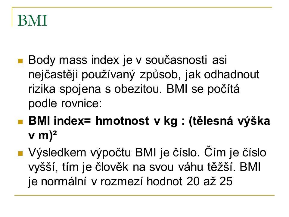 BMI Body mass index je v současnosti asi nejčastěji používaný způsob, jak odhadnout rizika spojena s obezitou.