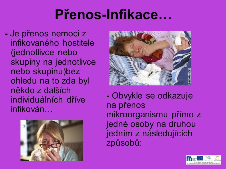 Přenos-Infikace… - Je přenos nemoci z infikovaného hostitele (jednotlivce nebo skupiny na jednotlivce nebo skupinu)bez ohledu na to zda byl někdo z dalších individuálních dříve infikován… - Obvykle se odkazuje na přenos mikroorganismů přímo z jedné osoby na druhou jedním z následujících způsobů: