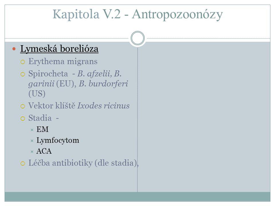 Kapitola V.2 - Antropozoonózy Lymeská borelióza  Erythema migrans  Spirocheta - B. afzelii, B. garinii (EU), B. burdorferi (US)  Vektor klíště Ixod