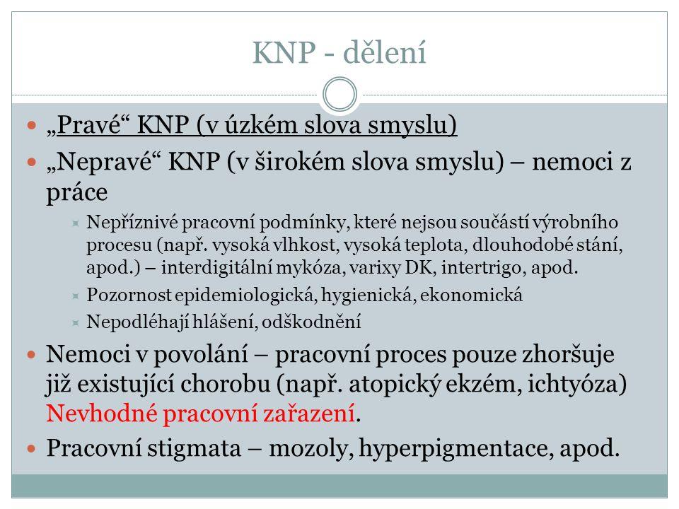 """KNP - dělení """"Pravé"""" KNP (v úzkém slova smyslu) """"Nepravé"""" KNP (v širokém slova smyslu) – nemoci z práce  Nepříznivé pracovní podmínky, které nejsou s"""