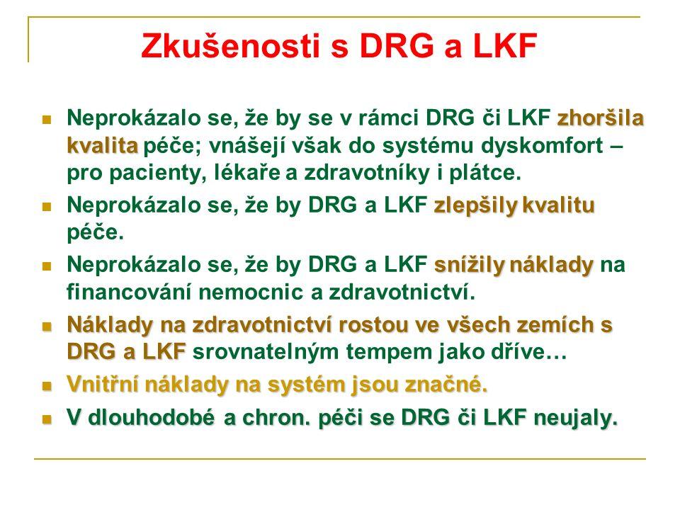 Zkušenosti s DRG a LKF zhoršila kvalita Neprokázalo se, že by se v rámci DRG či LKF zhoršila kvalita péče; vnášejí však do systému dyskomfort – pro pacienty, lékaře a zdravotníky i plátce.