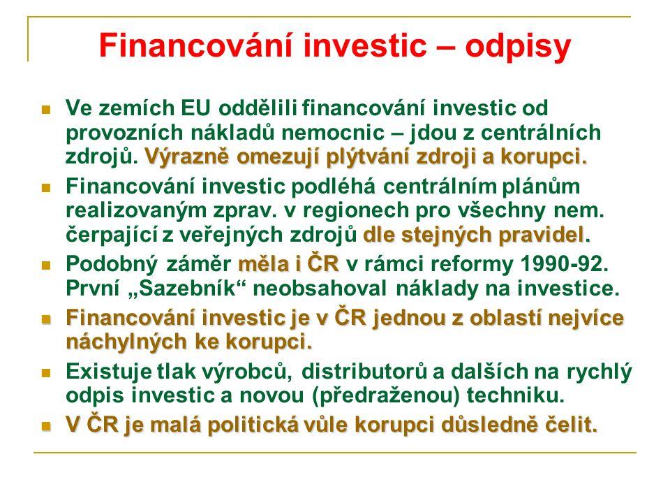 Financování investic – odpisy Výrazně omezují plýtvání zdroji a korupci. Ve zemích EU oddělili financování investic od provozních nákladů nemocnic – j