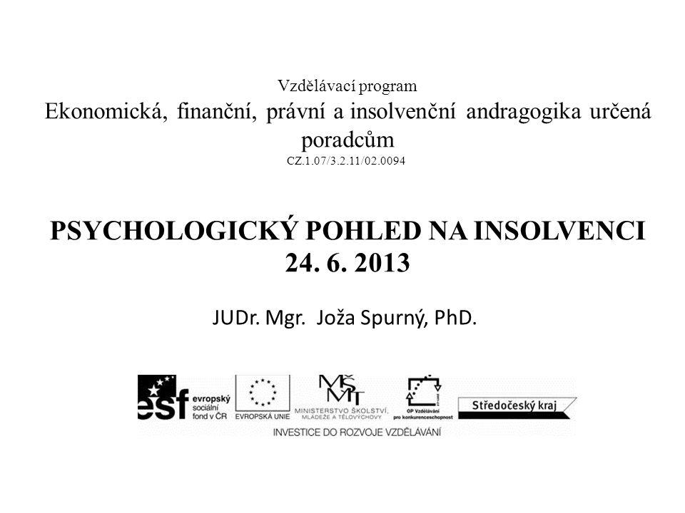 Vzdělávací program Ekonomická, finanční, právní a insolvenční andragogika určená poradcům CZ.1.07/3.2.11/02.0094 PSYCHOLOGICKÝ POHLED NA INSOLVENCI 24.