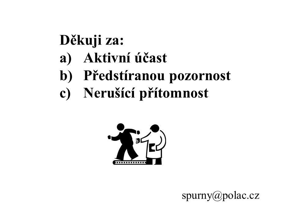 Děkuji za: a)Aktivní účast b)Předstíranou pozornost c)Nerušící přítomnost spurny@polac.cz