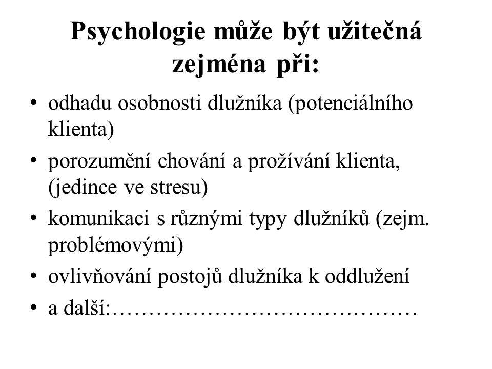 Psychologie může být užitečná zejména při: odhadu osobnosti dlužníka (potenciálního klienta) porozumění chování a prožívání klienta, (jedince ve stresu) komunikaci s různými typy dlužníků (zejm.