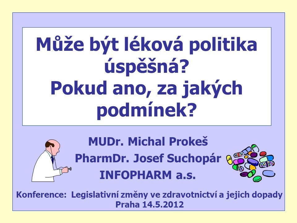 Může být léková politika úspěšná? Pokud ano, za jakých podmínek? MUDr. Michal Prokeš PharmDr. Josef Suchopár INFOPHARM a.s. Konference: Legislativní z