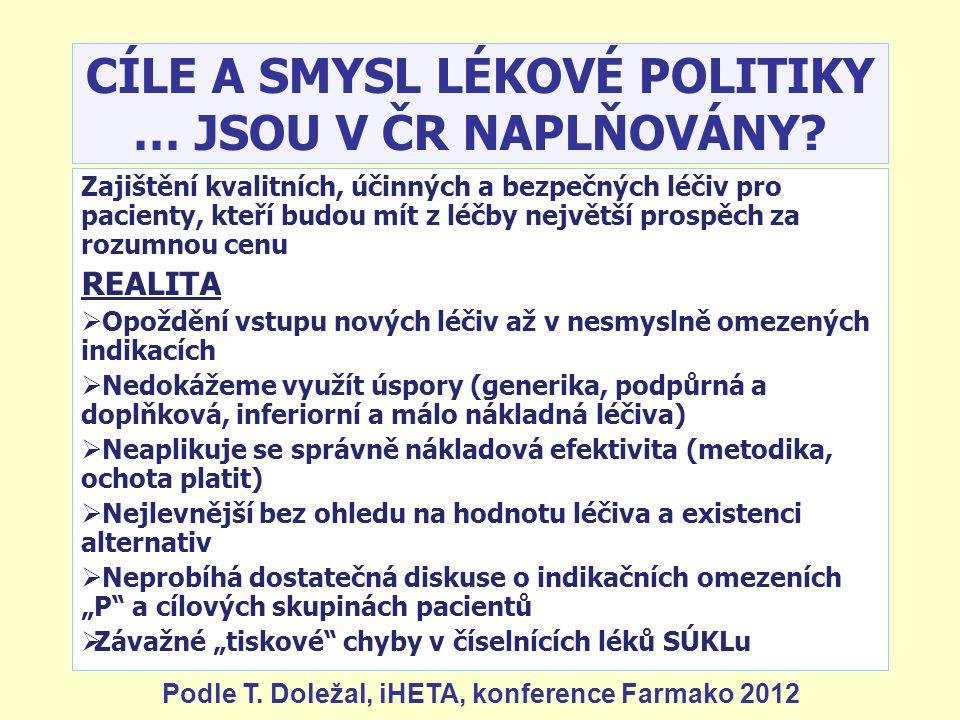 CÍLE A SMYSL LÉKOVÉ POLITIKY … JSOU V ČR NAPLŇOVÁNY? Zajištění kvalitních, účinných a bezpečných léčiv pro pacienty, kteří budou mít z léčby největší