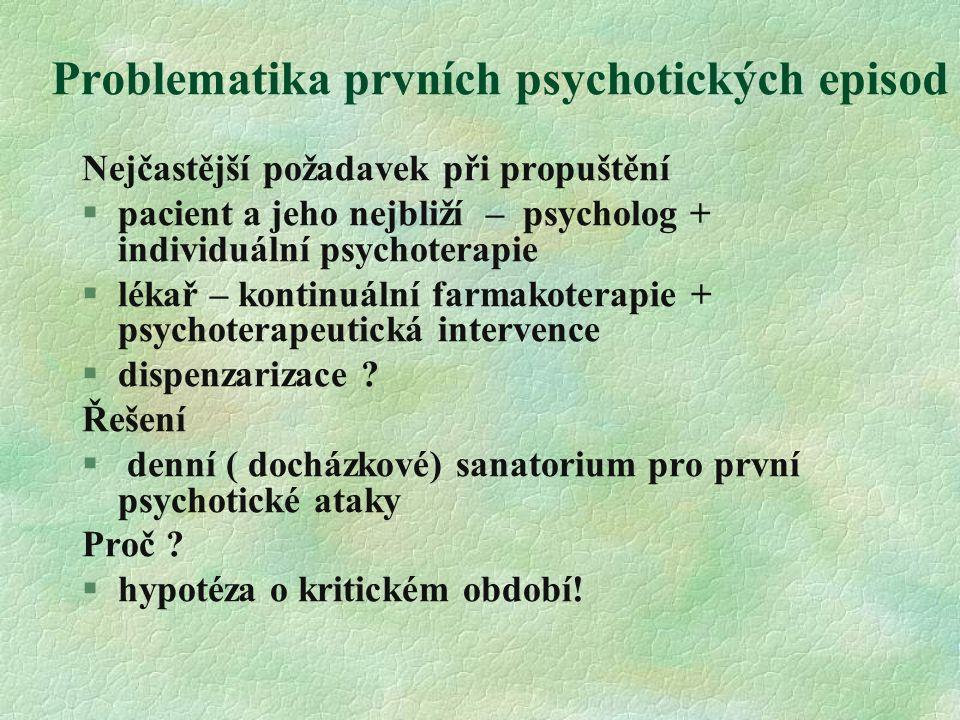 Problematika prvních psychotických episod Nejčastější požadavek při propuštění  pacient a jeho nejbliží – psycholog + individuální psychoterapie §lékař – kontinuální farmakoterapie + psychoterapeutická intervence §dispenzarizace .