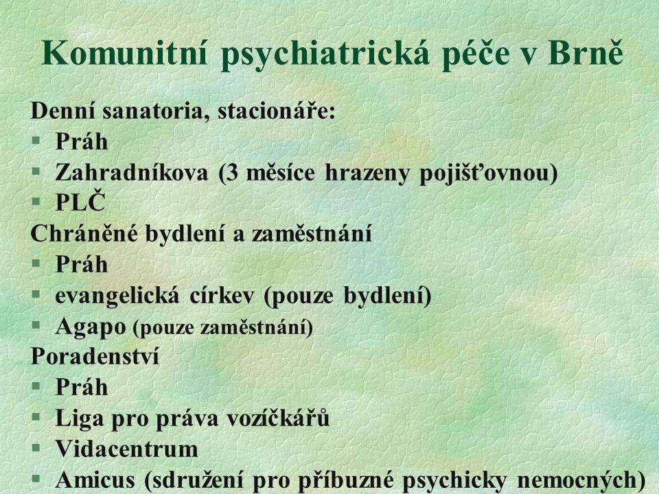 Komunitní psychiatrická péče v Brně Denní sanatoria, stacionáře:  Práh  Zahradníkova (3 měsíce hrazeny pojišťovnou)  PLČ Chráněné bydlení a zaměstn