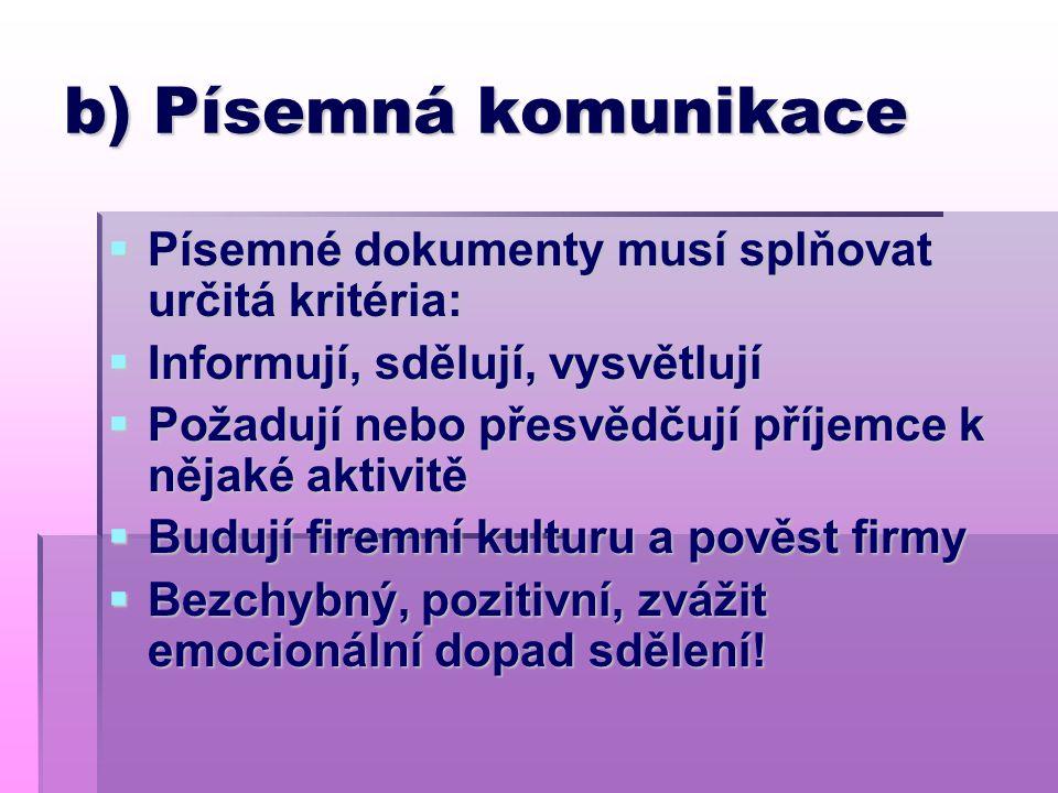 b) Písemná komunikace  Písemné dokumenty musí splňovat určitá kritéria:  Informují, sdělují, vysvětlují  Požadují nebo přesvědčují příjemce k nějak