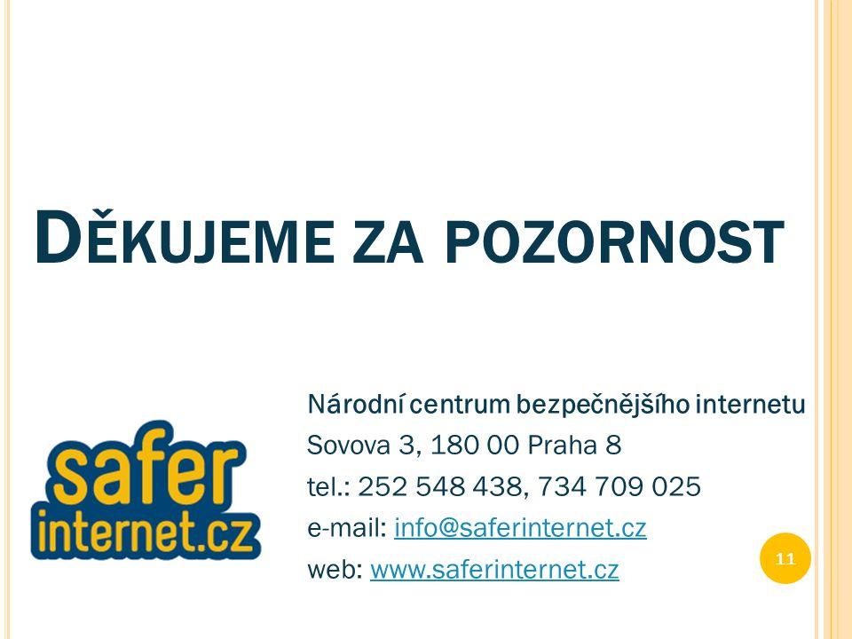 D ĚKUJEME ZA POZORNOST Národní centrum bezpečnějšího internetu Sovova 3, 180 00 Praha 8 tel.: 252 548 438, 734 709 025 e-mail: info@saferinternet.czinfo@saferinternet.cz web: www.saferinternet.czwww.saferinternet.cz 11