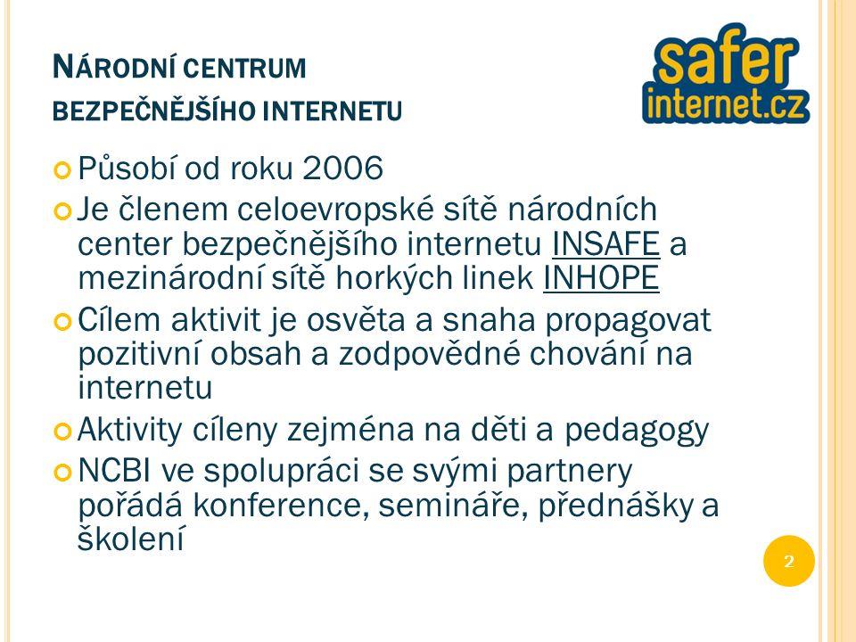 N ÁRODNÍ CENTRUM BEZPEČNĚJŠÍHO INTERNETU Působí od roku 2006 Je členem celoevropské sítě národních center bezpečnějšího internetu INSAFE a mezinárodní sítě horkých linek INHOPE Cílem aktivit je osvěta a snaha propagovat pozitivní obsah a zodpovědné chování na internetu Aktivity cíleny zejména na děti a pedagogy NCBI ve spolupráci se svými partnery pořádá konference, semináře, přednášky a školení 2