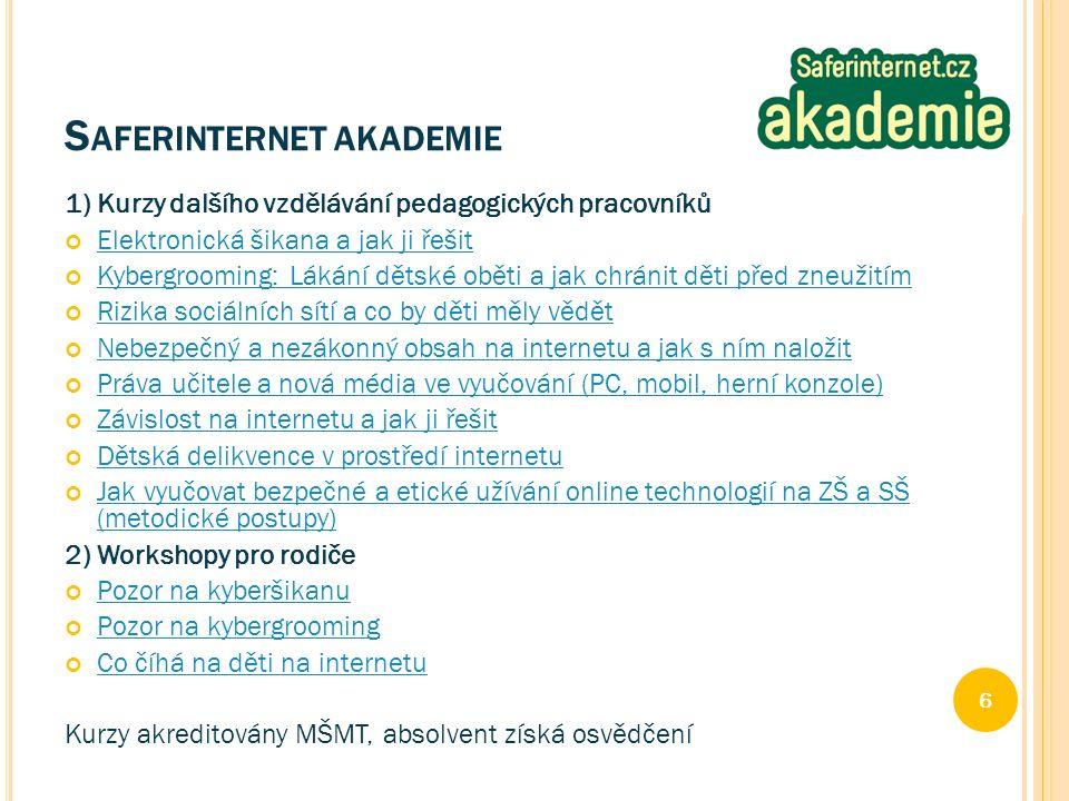1) Kurzy dalšího vzdělávání pedagogických pracovníků Elektronická šikana a jak ji řešit Kybergrooming: Lákání dětské oběti a jak chránit děti před zneužitím Rizika sociálních sítí a co by děti měly vědět Nebezpečný a nezákonný obsah na internetu a jak s ním naložit Práva učitele a nová média ve vyučování (PC, mobil, herní konzole) Závislost na internetu a jak ji řešit Dětská delikvence v prostředí internetu Jak vyučovat bezpečné a etické užívání online technologií na ZŠ a SŠ (metodické postupy) 2) Workshopy pro rodiče Pozor na kyberšikanu Pozor na kybergrooming Co číhá na děti na internetu Kurzy akreditovány MŠMT, absolvent získá osvědčení 6 S AFERINTERNET AKADEMIE