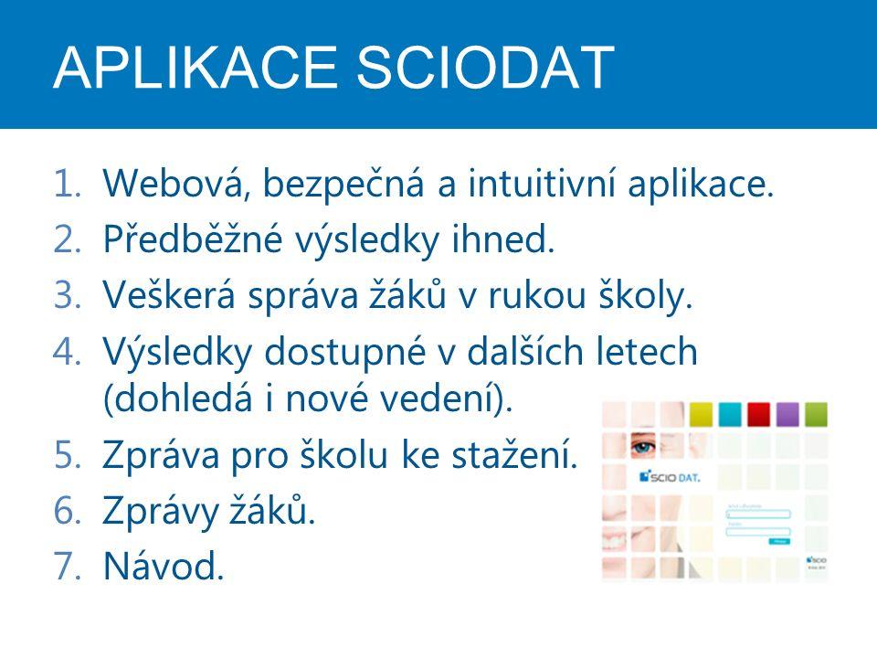 APLIKACE SCIODAT 1.Webová, bezpečná a intuitivní aplikace. 2.Předběžné výsledky ihned. 3.Veškerá správa žáků v rukou školy. 4.Výsledky dostupné v dalš