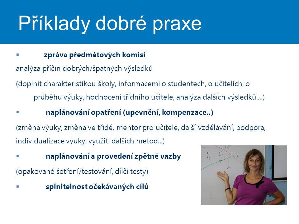 Příklady dobré praxe  zpráva předmětových komisí analýza příčin dobrých/špatných výsledků (doplnit charakteristikou školy, informacemi o studentech,