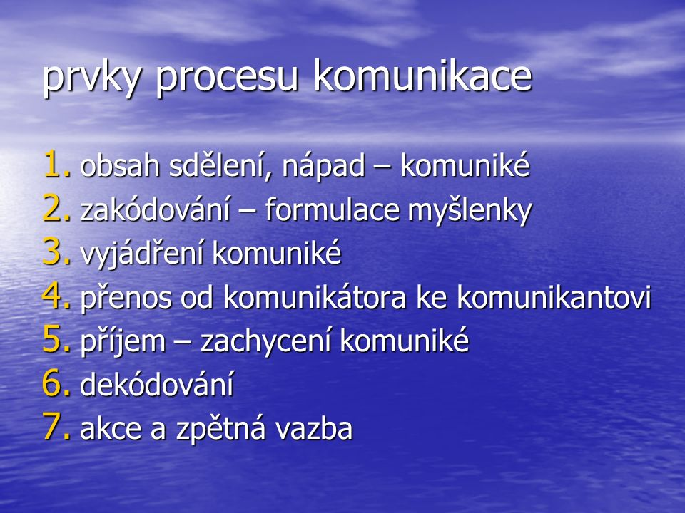 prvky procesu komunikace 1. obsah sdělení, nápad – komuniké 2.