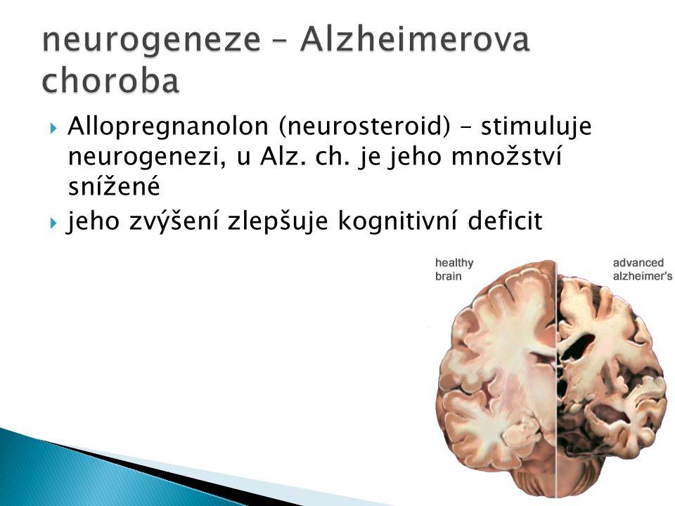  Allopregnanolon (neurosteroid) – stimuluje neurogenezi, u Alz.