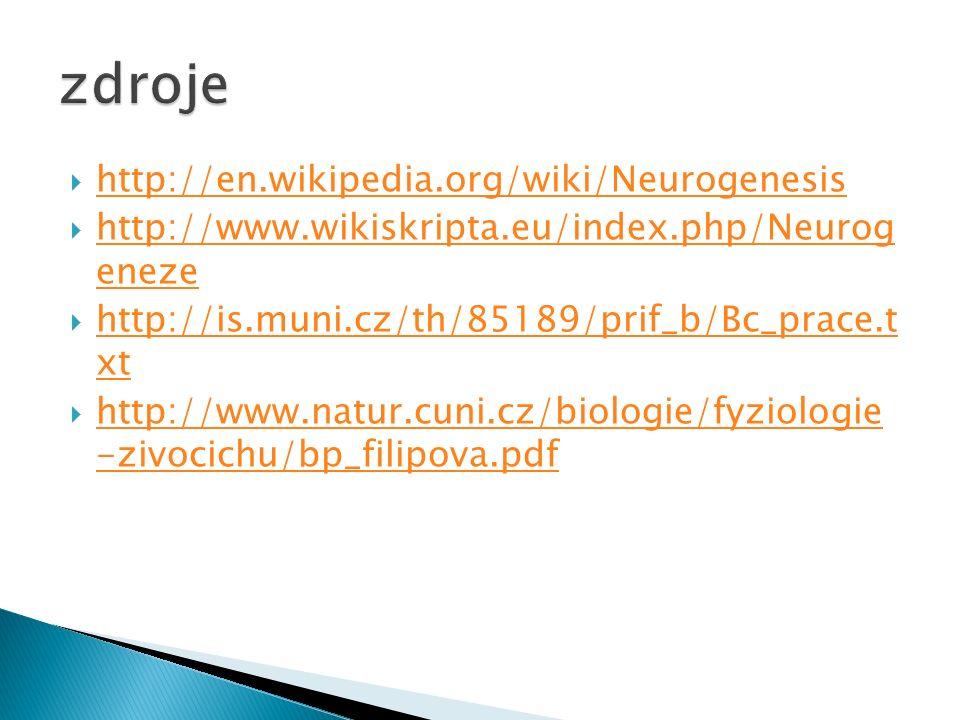  http://en.wikipedia.org/wiki/Neurogenesis http://en.wikipedia.org/wiki/Neurogenesis  http://www.wikiskripta.eu/index.php/Neurog eneze http://www.wikiskripta.eu/index.php/Neurog eneze  http://is.muni.cz/th/85189/prif_b/Bc_prace.t xt http://is.muni.cz/th/85189/prif_b/Bc_prace.t xt  http://www.natur.cuni.cz/biologie/fyziologie -zivocichu/bp_filipova.pdf http://www.natur.cuni.cz/biologie/fyziologie -zivocichu/bp_filipova.pdf