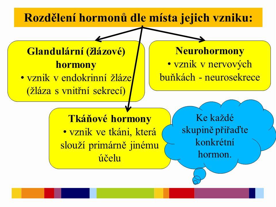 Rozdělení hormonů dle místa jejich vzniku: Glandulární (žlázové) hormony vznik v endokrinní žláze (žláza s vnitřní sekrecí) Neurohormony vznik v nervových buňkách - neurosekrece Tkáňové hormony vznik ve tkáni, která slouží primárně jinému účelu Ke každé skupině přiřaďte konkrétní hormon.