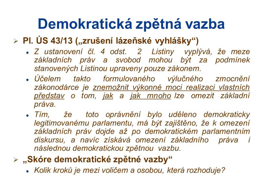 """Demokratická zpětná vazba  Pl. ÚS 43/13 (""""zrušení lázeňské vyhlášky ) Z ustanovení čl."""