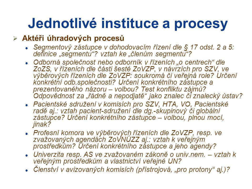 Jednotlivé instituce a procesy  Aktéři úhradových procesů Segmentový zástupce v dohodovacím řízení dle § 17 odst.