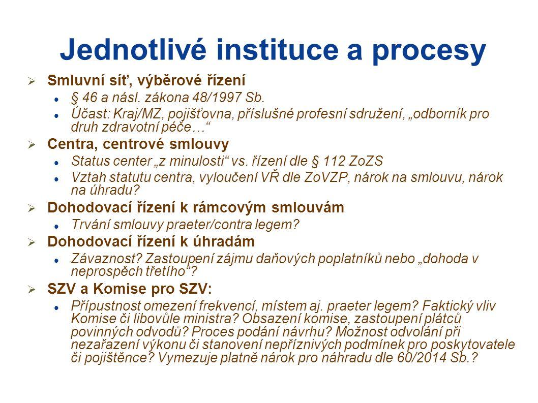 Jednotlivé instituce a procesy  Smluvní síť, výběrové řízení § 46 a násl.
