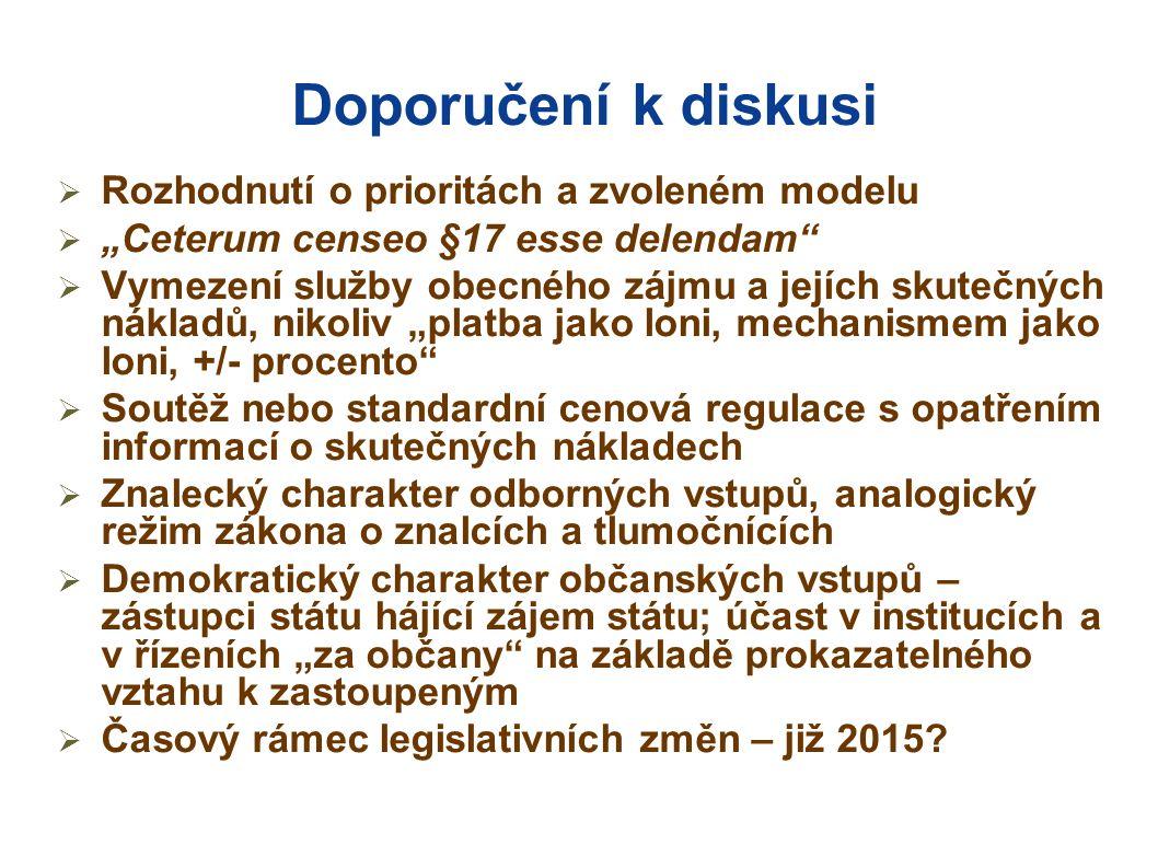"""Doporučení k diskusi  Rozhodnutí o prioritách a zvoleném modelu  """"Ceterum censeo §17 esse delendam  Vymezení služby obecného zájmu a jejích skutečných nákladů, nikoliv """"platba jako loni, mechanismem jako loni, +/- procento  Soutěž nebo standardní cenová regulace s opatřením informací o skutečných nákladech  Znalecký charakter odborných vstupů, analogický režim zákona o znalcích a tlumočnících  Demokratický charakter občanských vstupů – zástupci státu hájící zájem státu; účast v institucích a v řízeních """"za občany na základě prokazatelného vztahu k zastoupeným  Časový rámec legislativních změn – již 2015"""