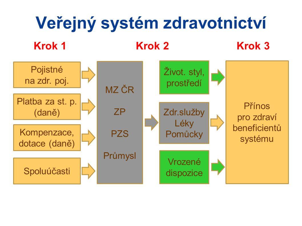 Veřejný systém zdravotnictví Krok 1 Krok 2 Krok 3 Platba za st.