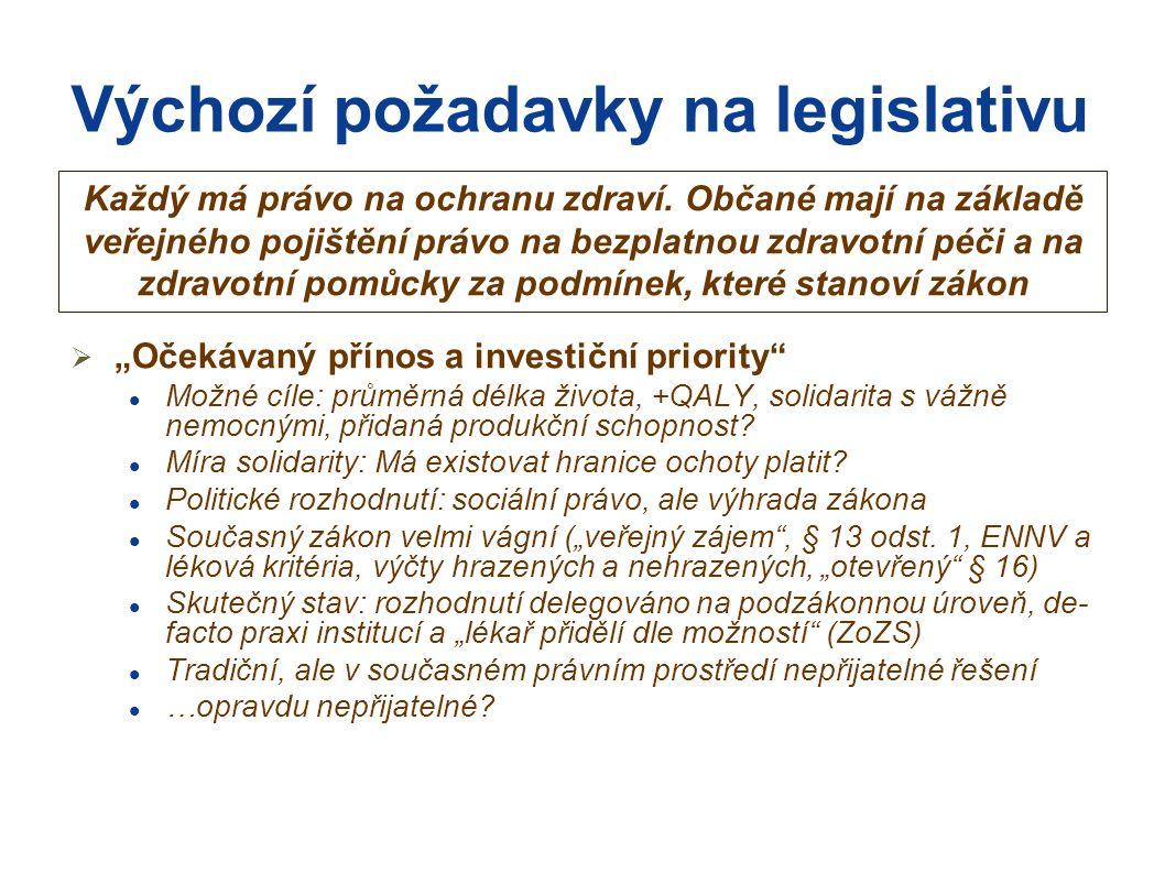 Výchozí požadavky na legislativu  Zvolený model systému Možné varianty: státní zdravotnictví, oddělení ZP od státu a nákup péče od nezávislých PZS, tržní modely Politické rozhodnutí, za předpokladu zachování univerzality, solidarity; ale přidělení kompetencí a odpovědnosti musí být logické a konzistentní Současný stav: střet prvků různých koncepcí (centrální řízení, kolektivní vyjednávání, samosprávné prvky, prvky obchodních vztahů), nejasné postavení zdravotních pojišťoven (stát.