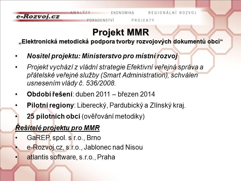 """Projekt MMR """"Elektronická metodická podpora tvorby rozvojových dokumentů obcí Nositel projektu: Ministerstvo pro místní rozvoj Projekt vychází z vládní strategie Efektivní veřejná správa a přátelské veřejné služby (Smart Administration), schválen usnesením vlády č."""