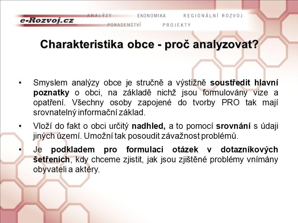 Charakteristika obce - proč analyzovat.
