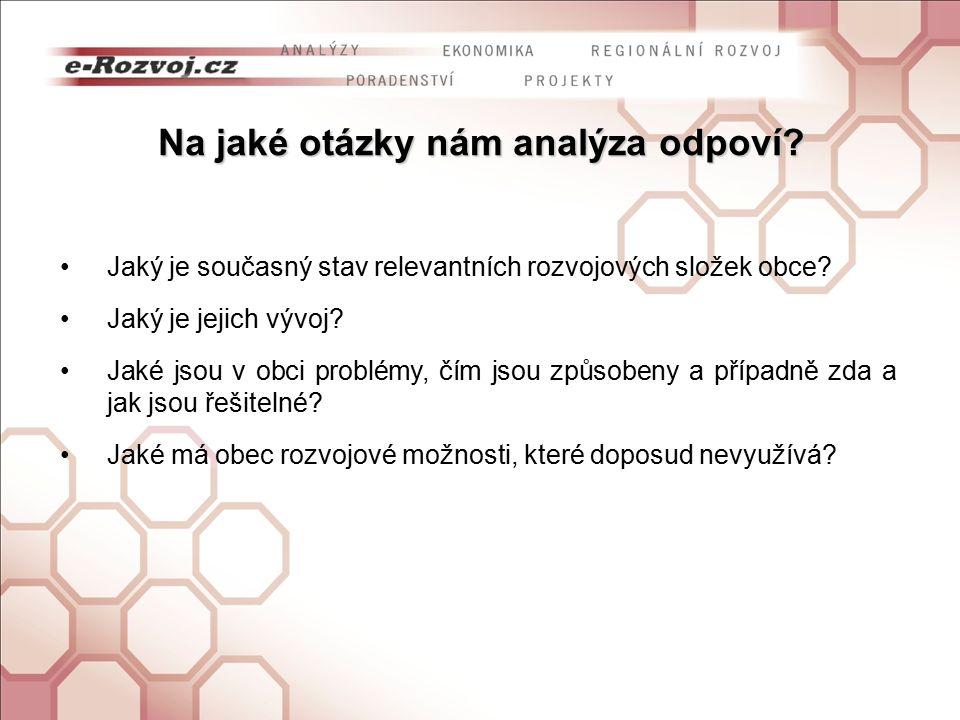 Na jaké otázky nám analýza odpoví? Jaký je současný stav relevantních rozvojových složek obce? Jaký je jejich vývoj? Jaké jsou v obci problémy, čím js