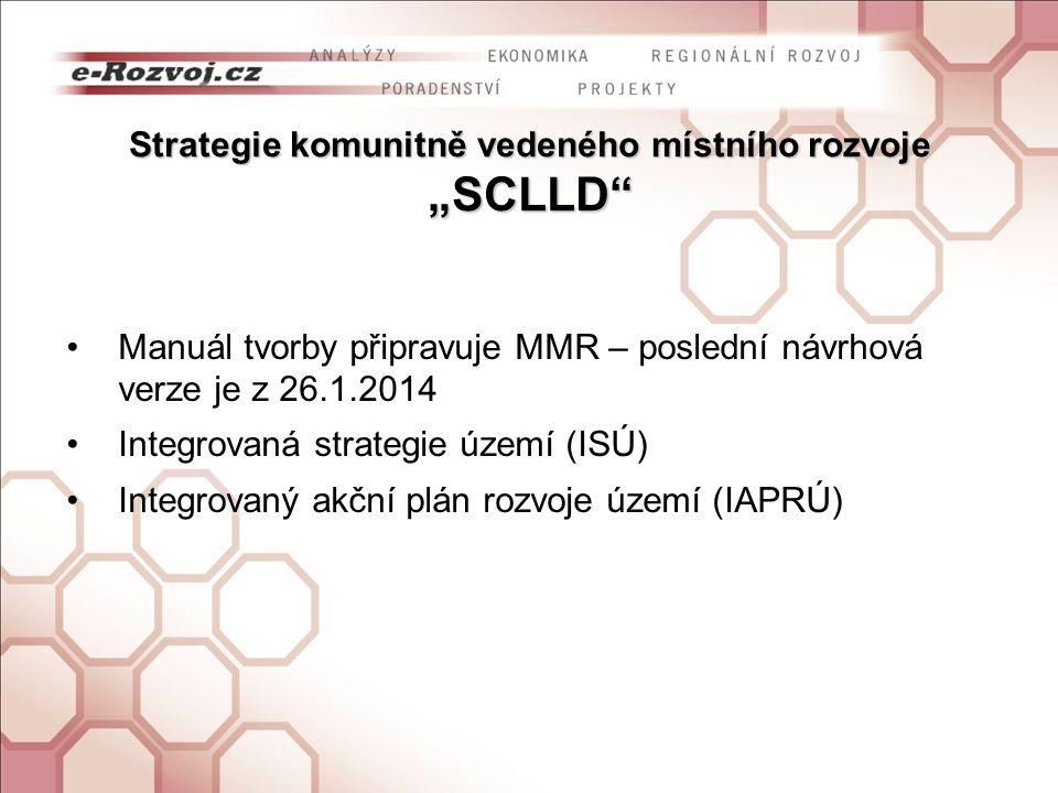 """Strategie komunitně vedeného místního rozvoje """"SCLLD Manuál tvorby připravuje MMR – poslední návrhová verze je z 26.1.2014 Integrovaná strategie území (ISÚ) Integrovaný akční plán rozvoje území (IAPRÚ)"""