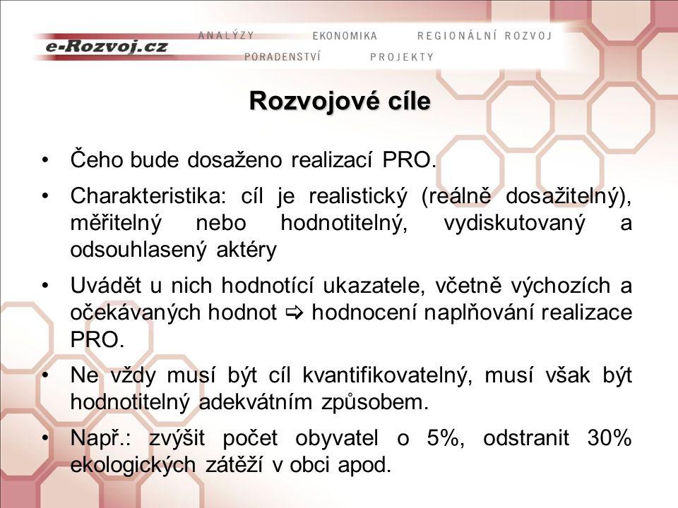 Rozvojové cíle Čeho bude dosaženo realizací PRO.