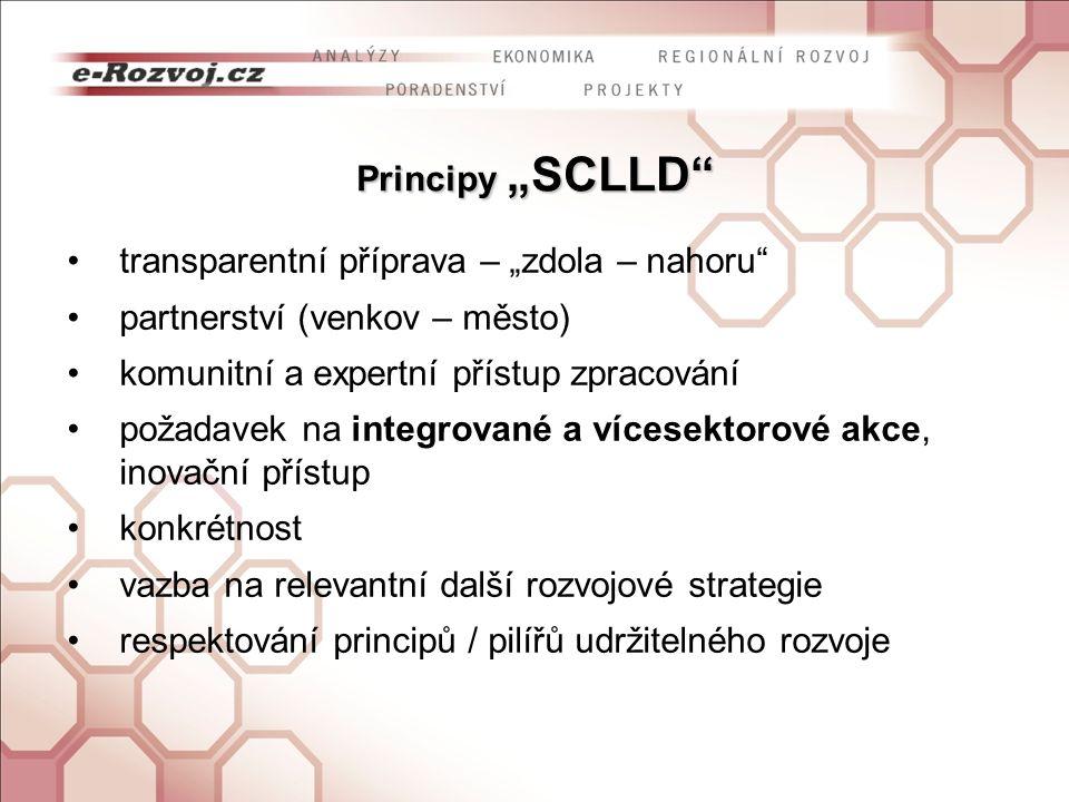 """Principy """"SCLLD transparentní příprava – """"zdola – nahoru partnerství (venkov – město) komunitní a expertní přístup zpracování požadavek na integrované a vícesektorové akce, inovační přístup konkrétnost vazba na relevantní další rozvojové strategie respektování principů / pilířů udržitelného rozvoje"""