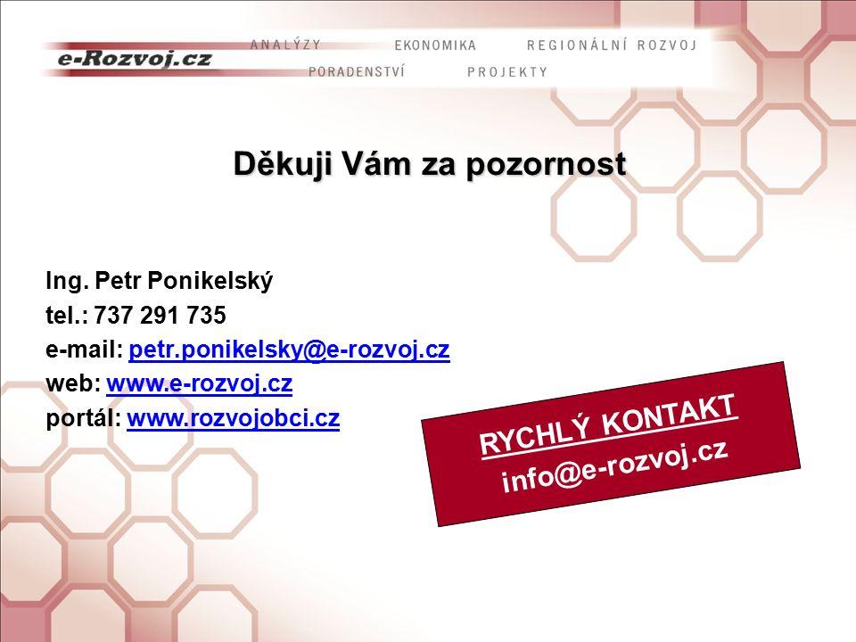 Děkuji Vám za pozornost Ing. Petr Ponikelský tel.: 737 291 735 e-mail: petr.ponikelsky@e-rozvoj.czpetr.ponikelsky@e-rozvoj.cz web: www.e-rozvoj.czwww.