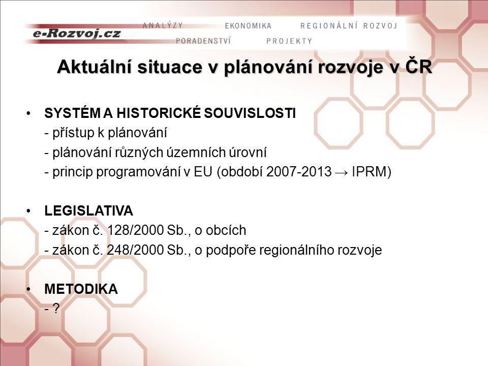 Aktuální situace v plánování rozvoje v ČR SYSTÉM A HISTORICKÉ SOUVISLOSTI - přístup k plánování - plánování různých územních úrovní - princip programování v EU (období 2007-2013 → IPRM) LEGISLATIVA - zákon č.
