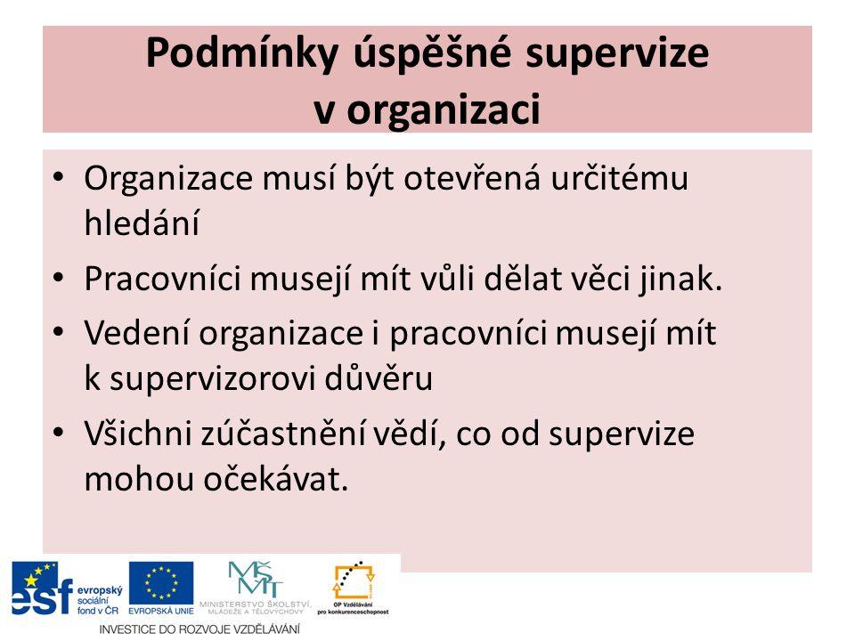 Podmínky úspěšné supervize v organizaci Organizace musí být otevřená určitému hledání Pracovníci musejí mít vůli dělat věci jinak.