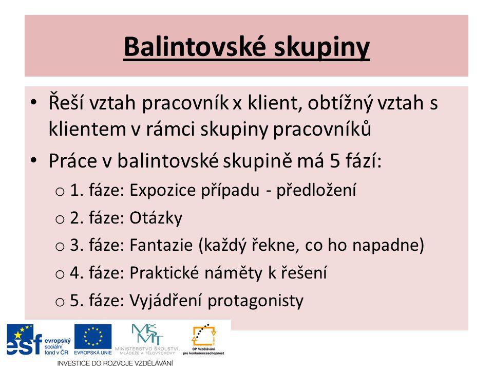 Balintovské skupiny Řeší vztah pracovník x klient, obtížný vztah s klientem v rámci skupiny pracovníků Práce v balintovské skupině má 5 fází: o 1.