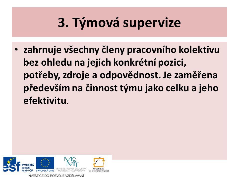 3. Týmová supervize zahrnuje všechny členy pracovního kolektivu bez ohledu na jejich konkrétní pozici, potřeby, zdroje a odpovědnost. Je zaměřena před