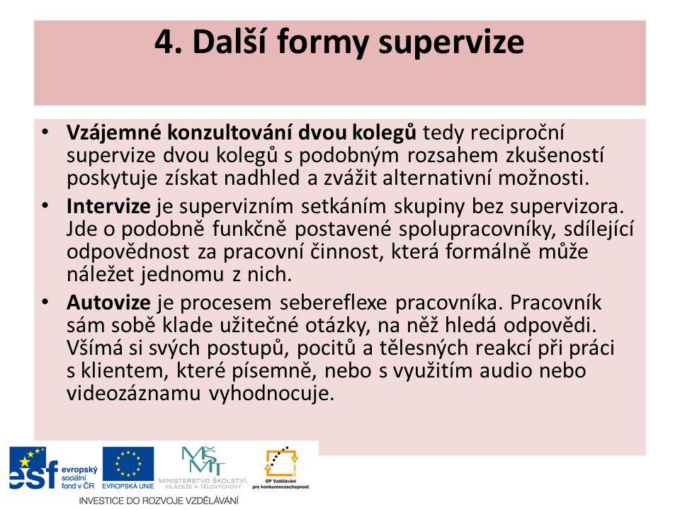 4. Další formy supervize Vzájemné konzultování dvou kolegů tedy reciproční supervize dvou kolegů s podobným rozsahem zkušeností poskytuje získat nadhl