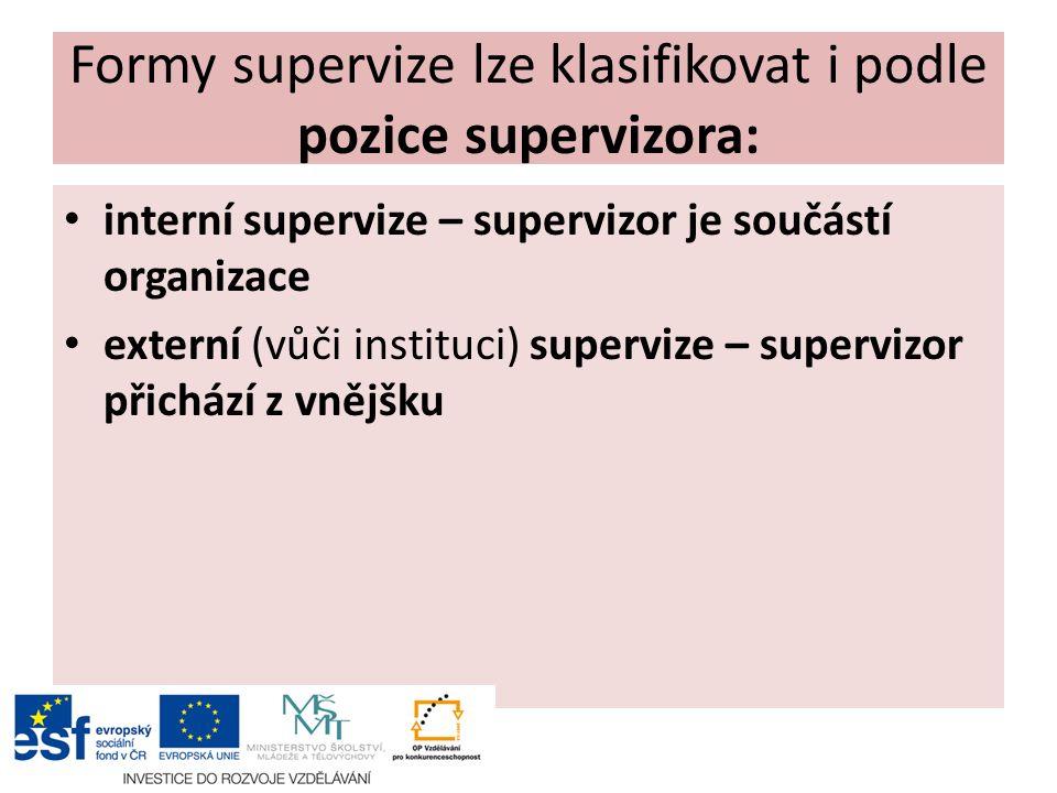 Podle toho, jak často a kdy se supervize provádí rozlišujeme: pravidelná supervize příležitostná supervize krizová supervize – v případě akutní potřeby – pomoc s těžkým případem nebo v případě akutní potřeby organizace
