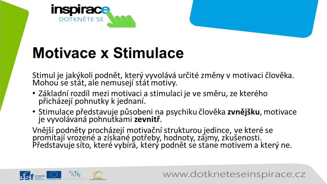 Motivace x Stimulace Stimul je jakýkoli podnět, který vyvolává určité změny v motivaci člověka.