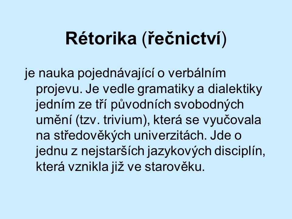 Rétorika (řečnictví) je nauka pojednávající o verbálním projevu.