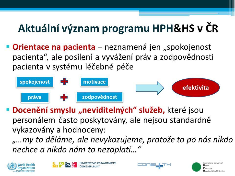 """Aktuální význam programu HPH&HS v ČR  Orientace na pacienta – neznamená jen """"spokojenost pacienta"""", ale posílení a vyvážení práv a zodpovědnosti paci"""