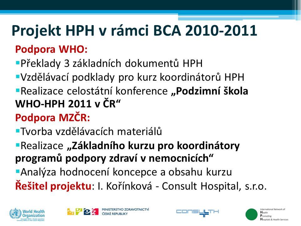 Projekt HPH v rámci BCA 2010-2011 Podpora WHO:  Překlady 3 základních dokumentů HPH  Vzdělávací podklady pro kurz koordinátorů HPH  Realizace celos
