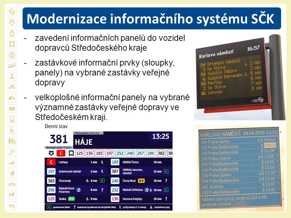 8 Modernizace informačního systému SČK -zavedení informačních panelů do vozidel dopravců Středočeského kraje -zastávkové informační prvky (sloupky, panely) na vybrané zastávky veřejné dopravy -velkoplošné informační panely na vybrané významné zastávky veřejné dopravy ve Středočeském kraji.