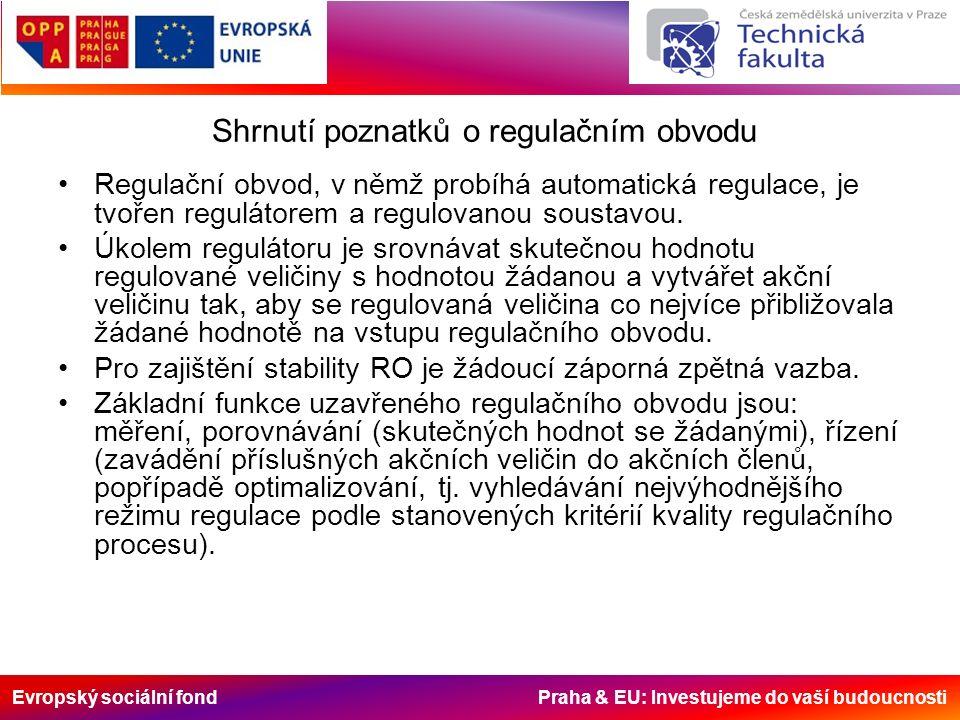 Evropský sociální fond Praha & EU: Investujeme do vaší budoucnosti Shrnutí poznatků o regulačním obvodu Regulační obvod, v němž probíhá automatická regulace, je tvořen regulátorem a regulovanou soustavou.