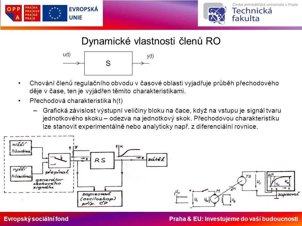Evropský sociální fond Praha & EU: Investujeme do vaší budoucnosti Dynamické vlastnosti členů RO Chování členů regulačního obvodu v časové oblasti vyjadřuje průběh přechodového děje v čase, ten je vyjádřen těmito charakteristikami.